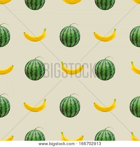 Seamless fruit background repeating texture with set of photorealistic yellow banana and green watermelon vector illustration.