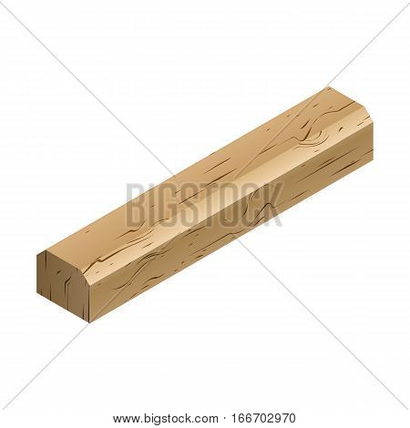 Wooden sleepers isolated on white background. Railway track design element. Flat 3D isometric style vector illustration.