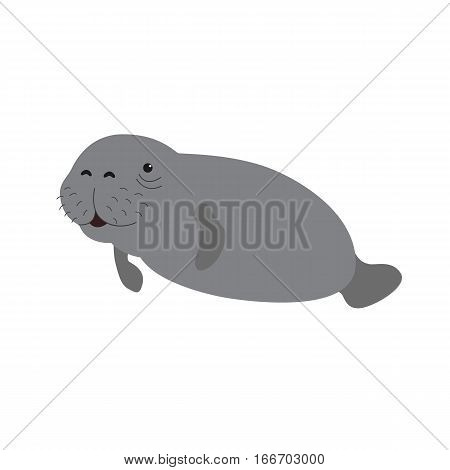 Cute cartoon manatee. Vector illustration for children. Isolated on white background