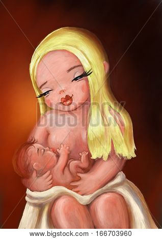 breastfeeding. mother feeding a baby with breast