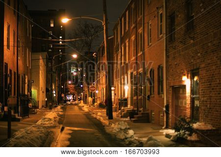 Romantic night streetlight in the city of Philadelphia