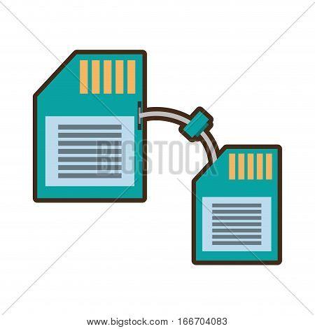 cartoon memory sd card back transfer icon vector illustration eps 10