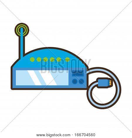 cartoon router internet connection modem vector illustration eps 10