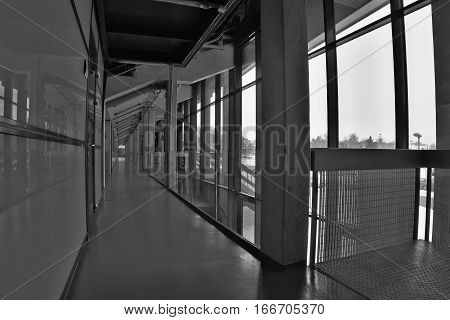 PUBLIC ACCES EVENT!!! Chomutov Czech republic - January 20 2017: empty corridor of new multipurpose hall