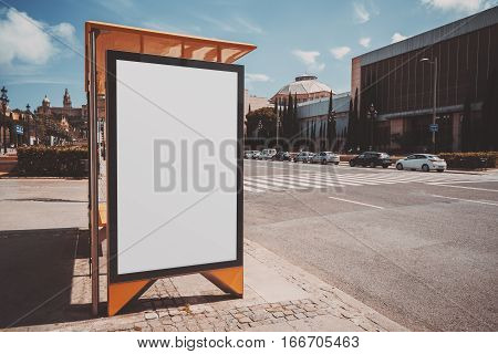 Empty mock up banner for your advertising blank billboard with copy space area for your text message or promotional content public information board in urban setting with highway cars around