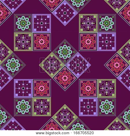 seamless geometric pattern, a rhombus pattern with beautiful flowers on crimson background, vector illustration