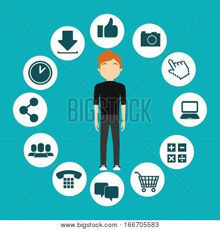 character man social media frame design vector illustration eps 10