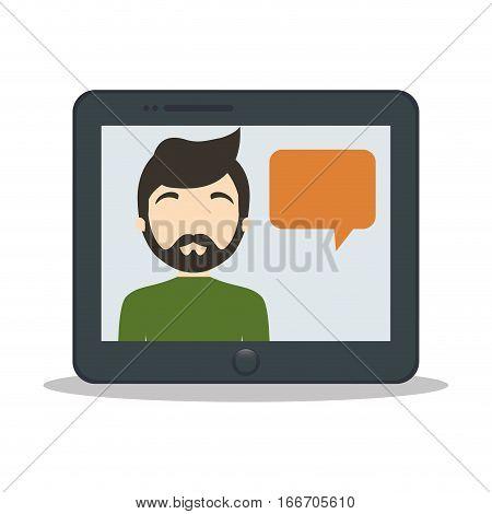 tablet man bubble speech chat vector illustration eps 10