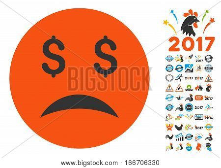 Bankrupt Smiley icon with bonus 2017 new year pictograms. Vector illustration style is flat iconic symbols, modern colors.