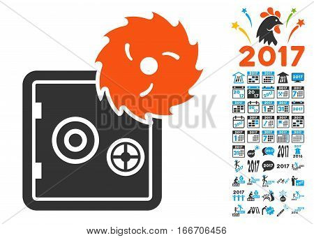 Break Banking Safe pictograph with bonus 2017 new year design elements. Vector illustration style is flat iconic symbols, modern colors.