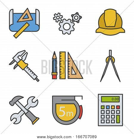 Engineering color icons set. Drawing, gears, helmet, caliper, divider, hammer and wrench, measuring tape, calculator, pencil with rulers Logo concepts Vector isolated illustration