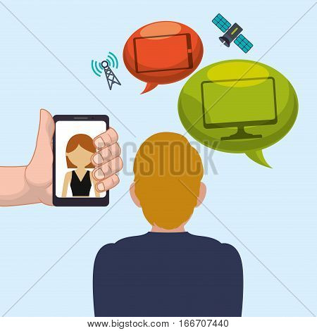 man smartphone woman bubble speech worlwide internet vector illustration