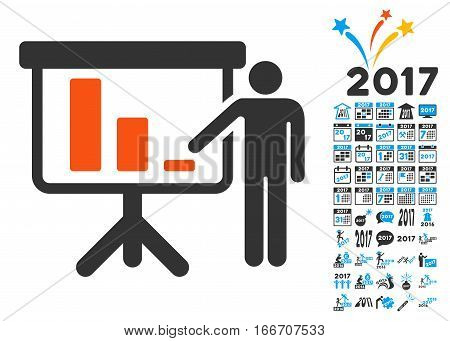 Crisis Reporting Person pictograph with bonus 2017 new year symbols. Vector illustration style is flat iconic symbols, modern colors.