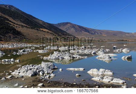At Mono Lake in California's eastern Sierra, rocky structures called
