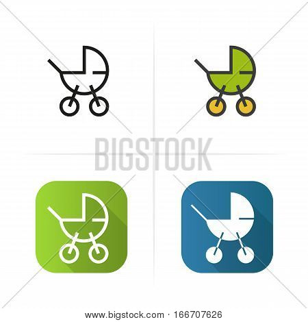 Baby carriage icon. Flat design, linear color styles. Isolated vector illustrations