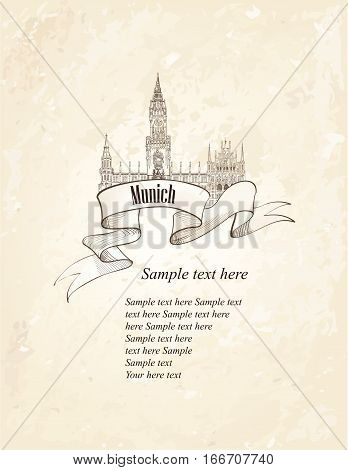 German landmark symbol. Travel Munich retro engraved sketch. Famous place in Germany. Vintage architectural background.