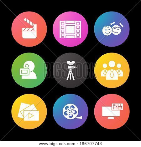 Filming silhouette icons set. Movie clapperboard, video film, play button, videographer, children. Smart watch UI style