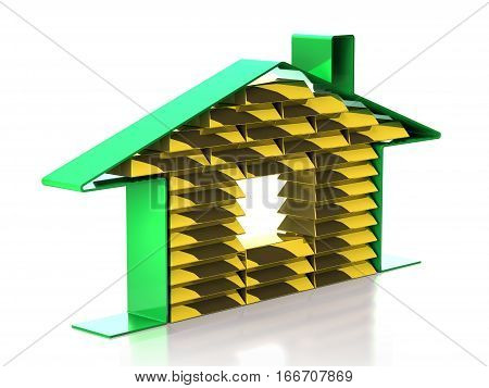 Sign Home and gold bars on white background (3d illustration)