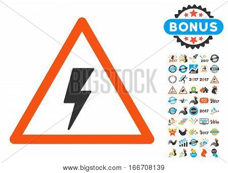 Electricity Shock Warning icon with bonus 2017 new year icon set. Vector illustration style is flat iconic symbols, modern colors.