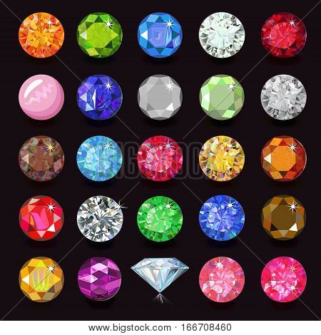 Colored gems set naming vector illustration isolated on dark background