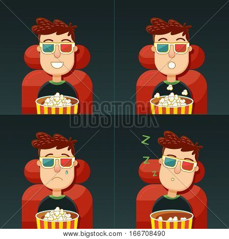 Emotion in the cinema. Fun fear sadness and boredom. Man in 3d glasses seating in chair with popcorn in cinema. Concept: comedy horror drama and boring movie.