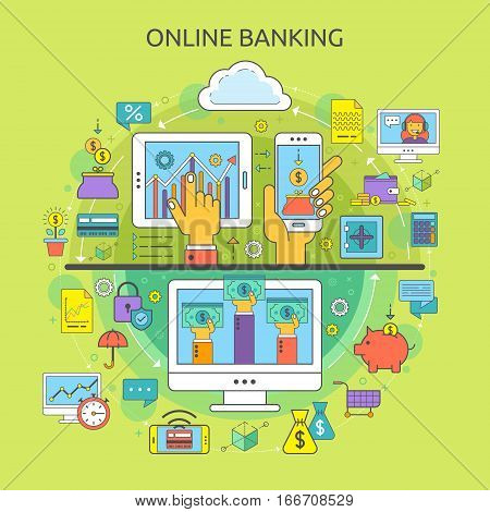 Concept of online banking. Flat line icons for banking finance online payment m-banking savings internet payment security online banking for websites and application.