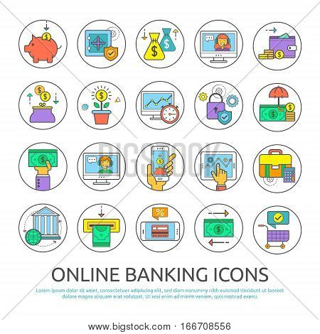 Set icons of online banking. Flat line icons for banking finance online payment m-banking savings internet payment security for websites and application.