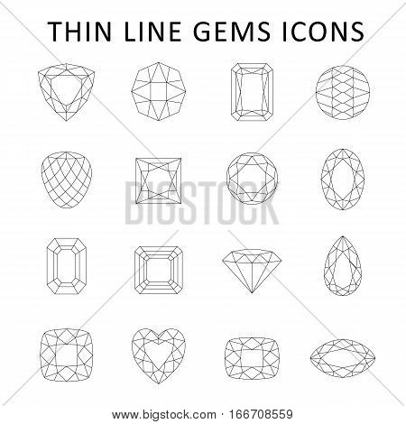 Low poly black thin line template fancy gem cut icons set isolated on white background vector illustration