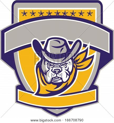 Illustration of a bulldog sheriff cowboy head facing front set inside shield crest with with stars and banner in the background.
