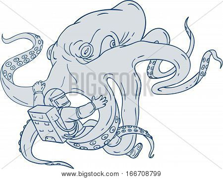 Drawing sketch style illustration of a giant octopus fighting an astronaut holding astronaut with it's tentacles set on isolated white background.