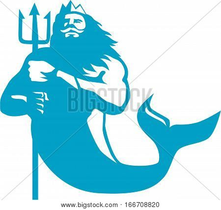Illustration of triton mythological god wielding trident viewed from front set on isolated white background done in retro style. poster