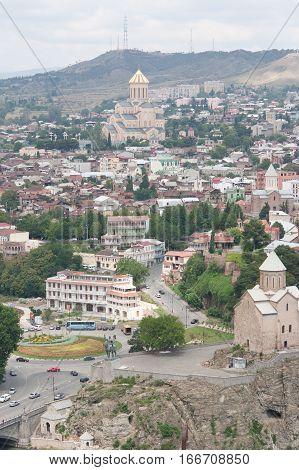TBILISI, GEORGIA - AUGUST 08,2013: Top view of Tbilisi. Tbilisi is the capital of Georgia