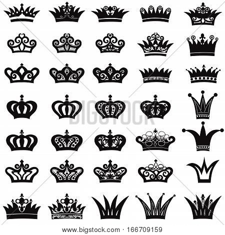 Crown icon set. Diadem sihouette collection.  tiara decor. Design elements