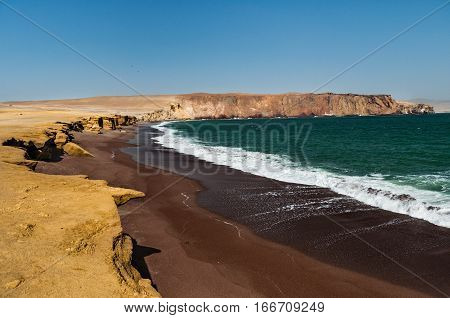 Coastline Paracas National Reserve Ica Region Peru. Paracas desert. Atacama desert.Cliffs in the Paracas National Reserve on the Pacific coast of Peru.