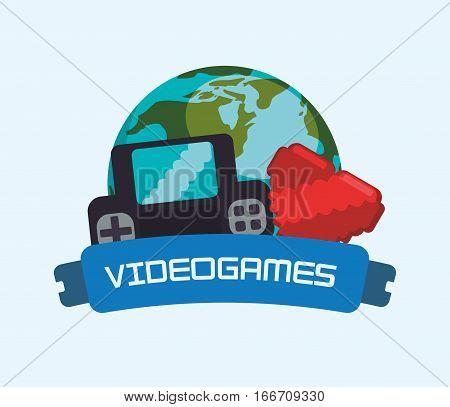 videogames online world console heart vector illustration eps 10 poster