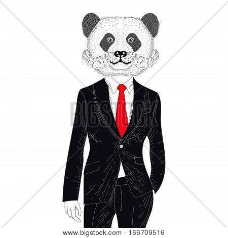 Vector brutal panda in elegant classic suit. Hand drawn anthropomorphic bear  with mustache, illustration for t-shirt print, kids greeting card, invitation for pets, animal, gentleman party.