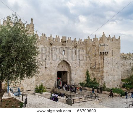 JERUSALEM ISRAEL - DECEMBER 8: Damascus Gate or Shechem Gate one of the gates to the Old City of Jerusalem Israel on December 8 2016
