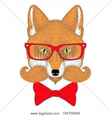 Cute red fox portrait, face with french mustache, bow tie, glasses. Hand drawn anthropomorphic fashion animal illustration for t-shirt print, kids greeting card, invitation for gentleman party, tattoo design.
