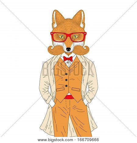 Vector anthropomorphic fox in elegant classic suit with coat. Hand drawn animal with mustache, beard, glasses, illustration for t-shirt print, kids greeting card, invitation, tattoo design.