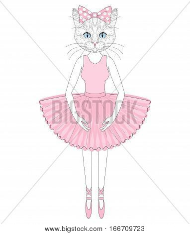 Vector cute cat in dress like ballerina. Hand drawn anthropomorphic kitty, illustration for t-shirt print, kids greeting card, invitation for pet party.