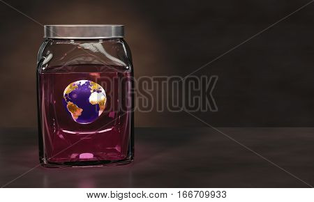 Preserving Planet Earth in a glass jar of pink liquid