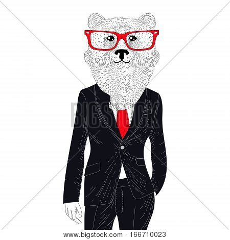 Vector brutal bear in elegant classic suit. Hand drawn anthropomorphic animal with mustache, beard, glasses. Illustration for t-shirt print, kids greeting card, invitation for pets, gentleman party.