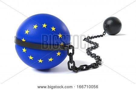The European Union hold back by a Ball and Chain restraint device