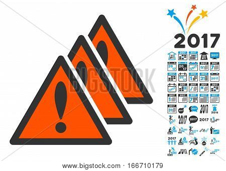 Multiple Problems pictograph with bonus 2017 new year pictograph collection. Vector illustration style is flat iconic symbols, modern colors.