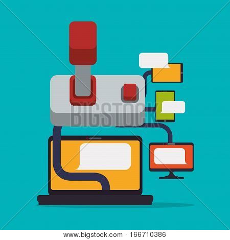 online game technology device joystick connect vector illustration