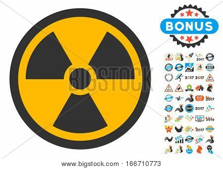 Radioactive icon with bonus 2017 new year pictograph collection. Vector illustration style is flat iconic symbols, modern colors.