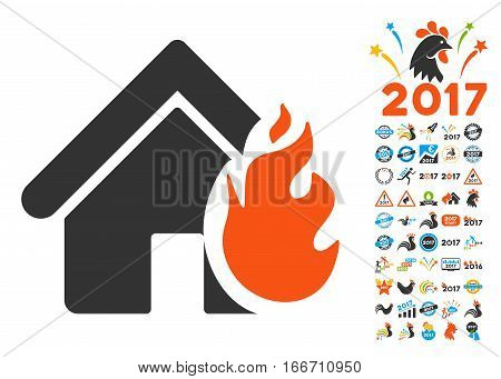 Realty Fire Damage pictograph with bonus 2017 new year images. Vector illustration style is flat iconic symbols, modern colors.