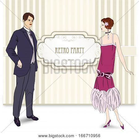 Retro party card. invitation design. Flapper girl and man over vintage background with copy space in 1930s style.