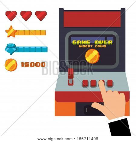 retro arcade game console joystick vector illustration eps 10