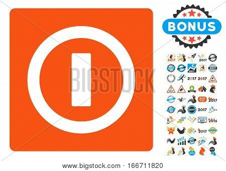 Turn Off icon with bonus 2017 new year design elements. Vector illustration style is flat iconic symbols, modern colors.